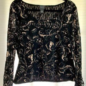 Inc international concepts black lace top xl